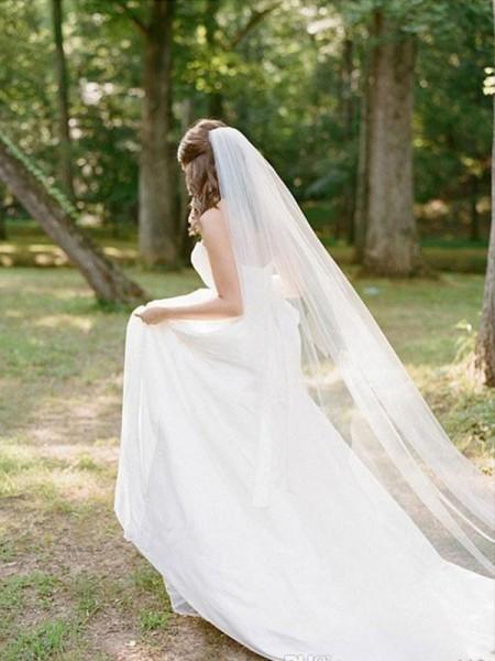 Elegante tyll lange med blonder-slør
