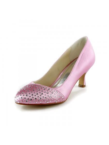 Kvinners Fashion Satin Stiletto Heel Lukket Toe Med Rhinestone Rosa Bryllupsko