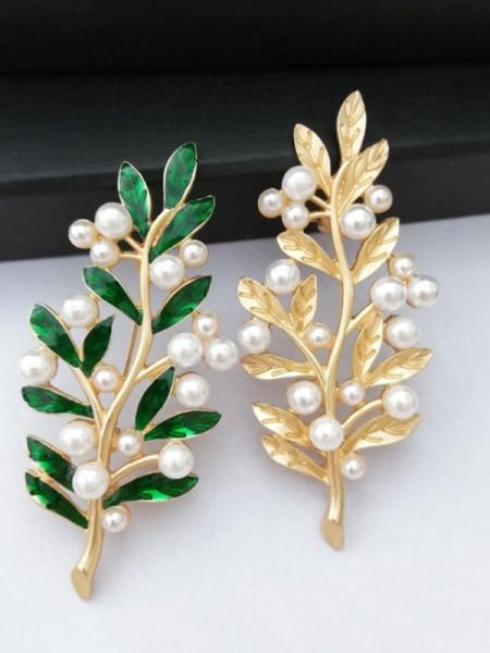 Vintage Legering Med Imitation Perle Dame Brosje