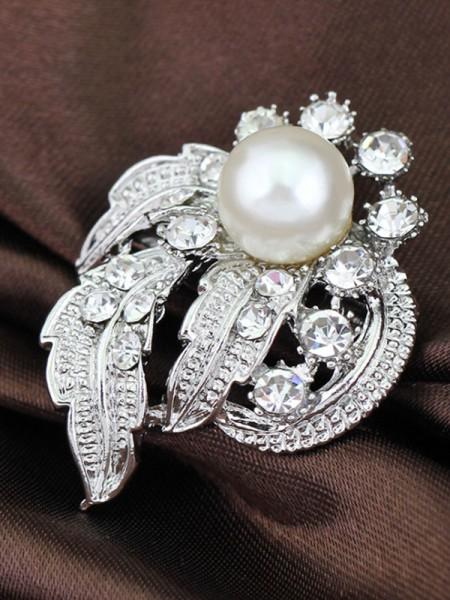 Vintage Legering Med Rhinestone/Imitation Perle Dame Brosje