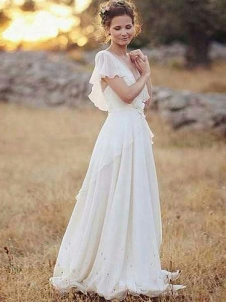 A-formet/Prinsesse V-hals Gulvlengde Kort erme Folder Chiffong Brudekjoler