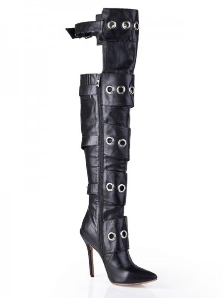 Kvinners Cattlehide Lær Stiletto Heel Med Buckle Knee High Svart Støvler