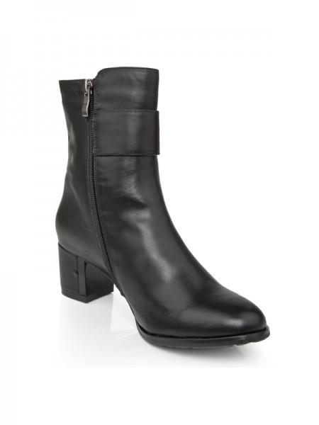 Kvinners Cattlehide Lær Chunky Heel Med Glidlås Booties/Ankle Svart Støvler