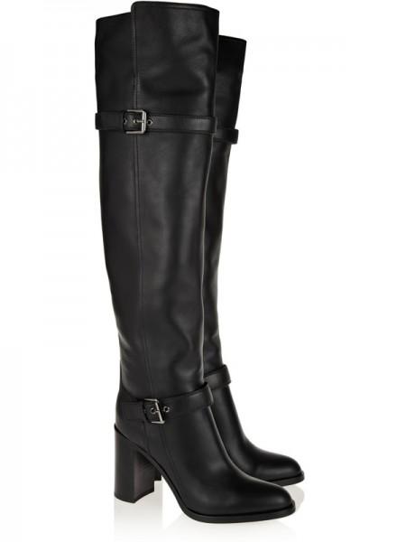 Kvinners Chunky Heel Cattlehide Lær Med Buckle Knee High Svart Støvler