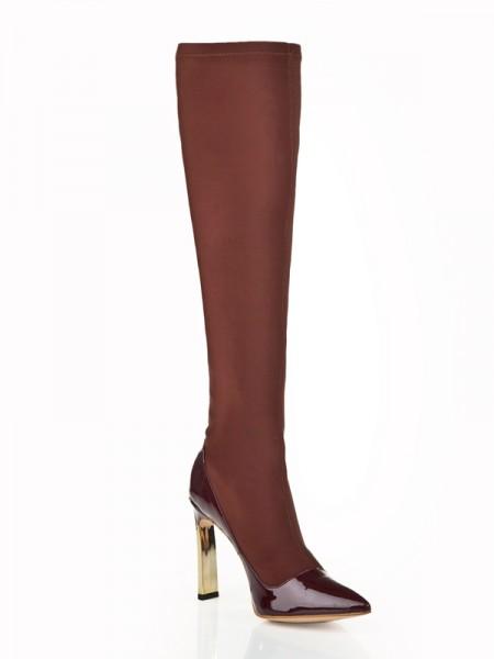 Kvinners Stiletto Heel Elastic Lær Med Rhinestone Knee High Sjokolade Støvler