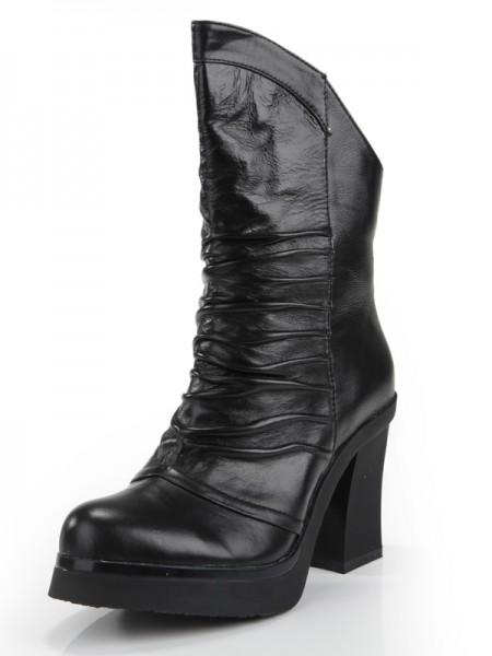 Kvinners Cattlehide Lær Chunky Heel Lukket Toe Med Folder Mid-Calf Svart Støvler