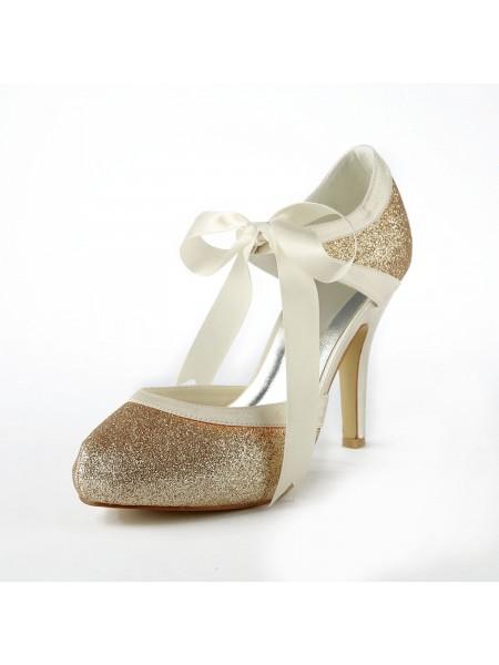 Kvinners Satin Stiletto Heel Pumps Med Sparkling Glitter Hvit Bryllupsko