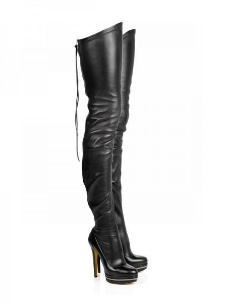 Kvinners Elastic Lær Stiletto Heel Platform Over The Knee Svart Støvler