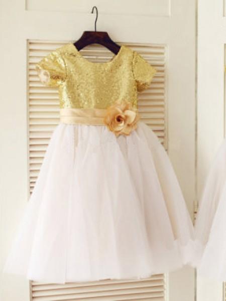A-formet/Prinsesse Kort erme Øse Tyll Paljetter Knelengde Kjoler Til Barn