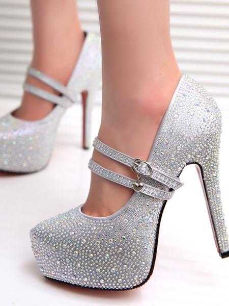 Krystall Stiletto Hæl Lukket Tå Kvinner høye hæler