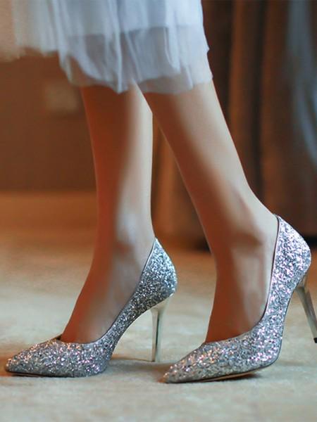 Dame-lukket tå Stiletto Hæl Glitrende Glitter-høye hæler