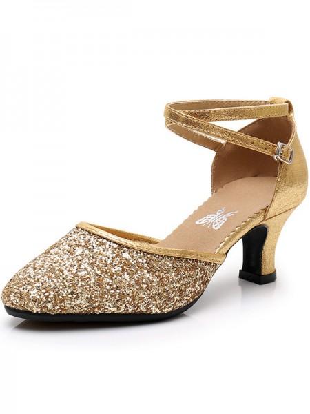 Dames glitrende glitter kone hæl lukket tå sandaler