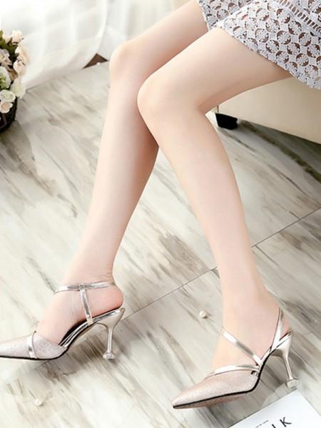 PU-sandaler med lukket tå til kvinner med PU-hæl
