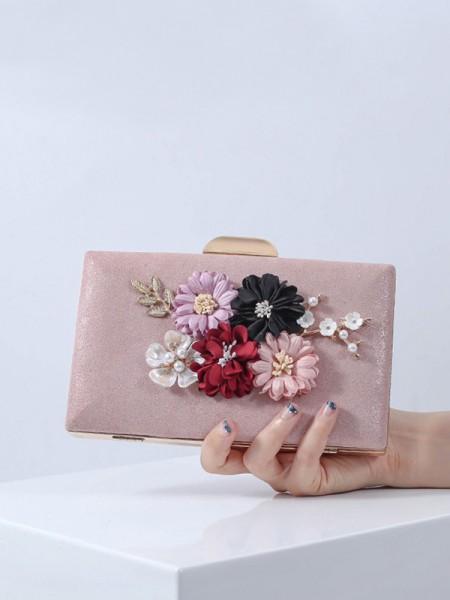 Bankettveske PU 3D Blomst Clutch Bag Kveld Parti Bryllup Tote