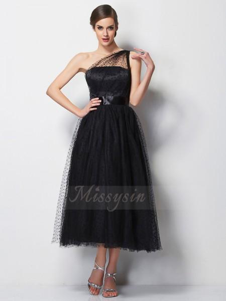 A-formet/Prinsesse En Skuldret Ermeløs Elastisk sateng,Netting Midt-på-leggen Fold Brudepike kjole