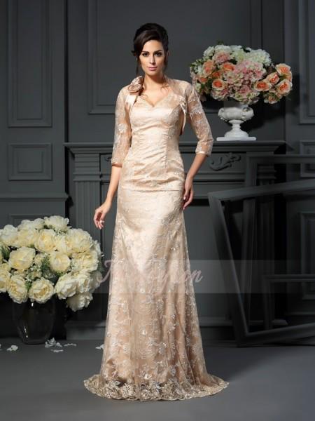 A-formet/Prinsesse V-hals Elastisk sateng Gulvlengde Blonder Ermeløs Kjoler Til Brudens Mor