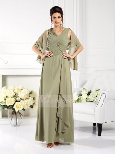 A-formet/Prinsesse V-hals Chiffong Gulvlengde Fold Ermeløs Kjoler Til Brudens Mor