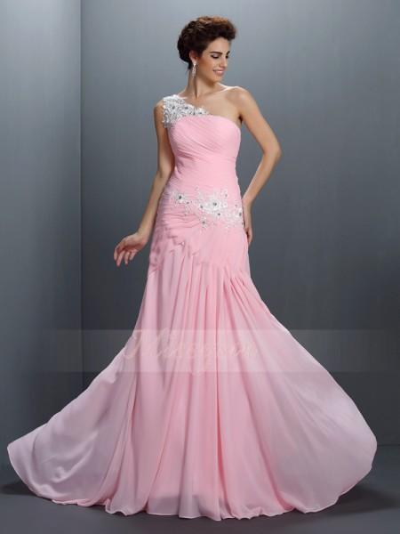 A-formet/Prinsesse En Skuldret Chiffong Gulvlengde Perler,Applikasjoner Ermeløs Kjole