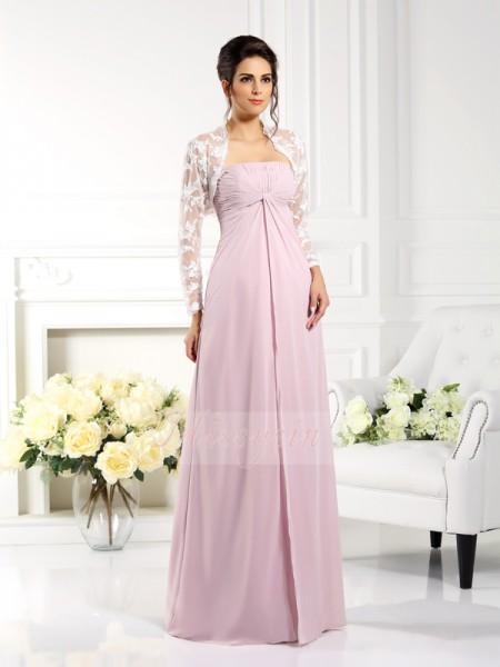 A-formet/Prinsesse Stroppløs Chiffong Gulvlengde Blonder Ermeløs Kjoler Til Brudens Mor