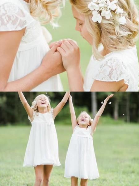 A-formet/Prinsesse Øse Knelengde Blonder Chiffong Kort erme Kjoler Til Barn
