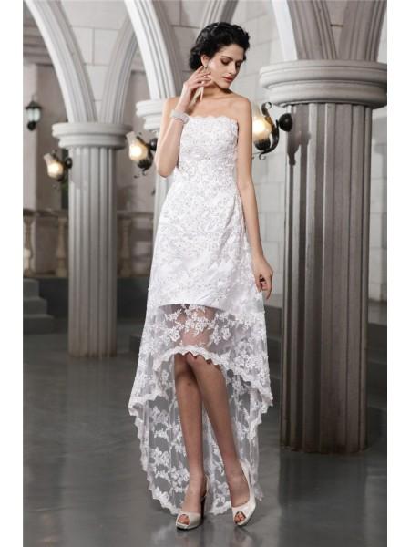 Linjeform Ermeløs Stroppløs Blonder Perler Asymmetrisk Brudekjoler