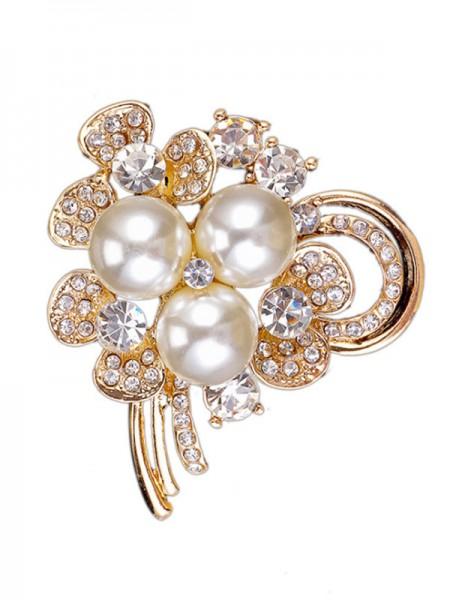 Elegant legering med Rhinestone/Imitation Perle Dame Brosje
