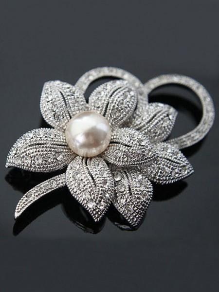 Fancy Legering Med Krystall/Imitation Perle Dame Brosje