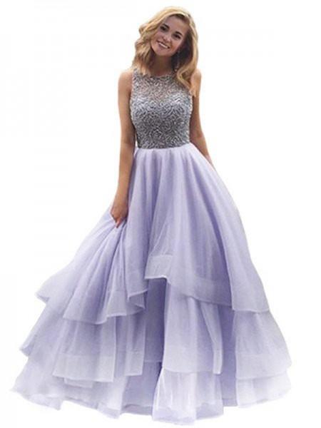 Ball Gown Floor-Length Organza Sleeveless Scoop Beading Dresses
