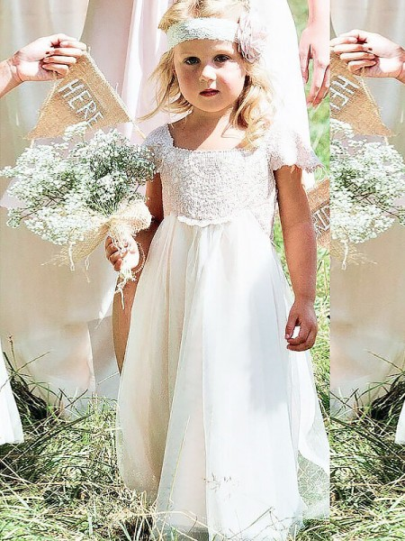 A-formet/Prinsesse Kort erme Firkantet Chiffong Blonder Gulvlengde Kjoler Til Barn