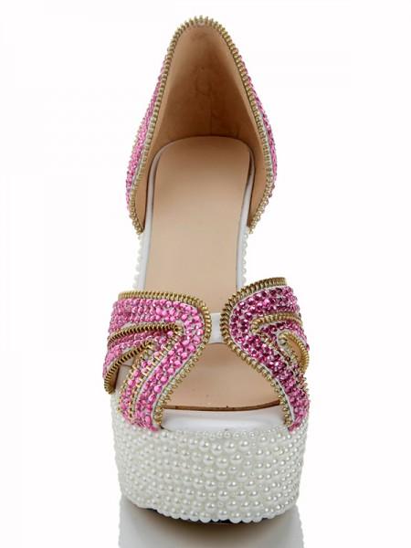 Patent Lær Perler Diamant Sandals Høyeheler