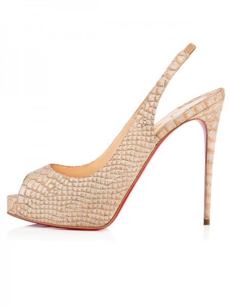 Kvinners Åpen skotupp PU Stiletto Heel Platform Champagne Sandals Sko
