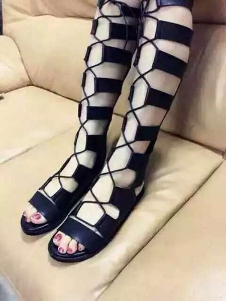 Kvinners Flat Heel Suede Åpen skotupp Med Blonder-up Sandal Knee High Svart Støvler