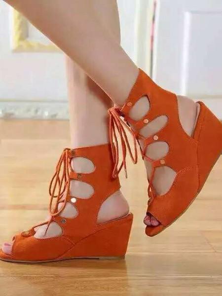 Kvinners Wedge Heel Suede Åpen skotupp Med Blonder-up Sandal Ankle Oransje Støvler