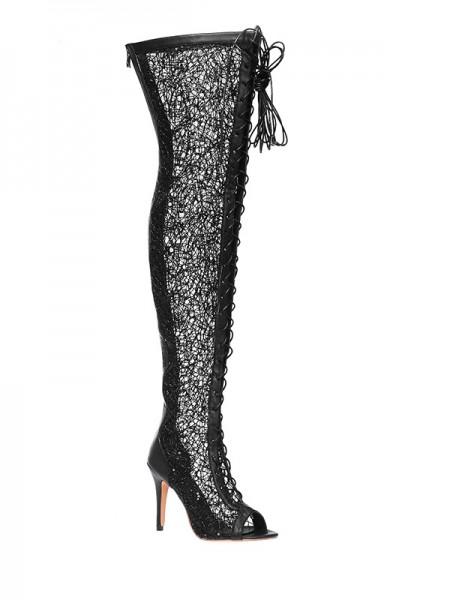 Kvinners Blonder Platform Åpen skotupp Stiletto Heel Med Blonder-up Over The Knee Svart Støvler