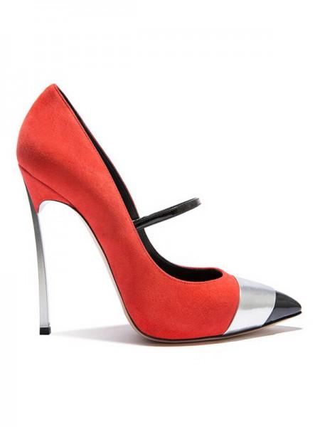 Kvinners Suede Lukket Toe Stiletto Heel Sandals