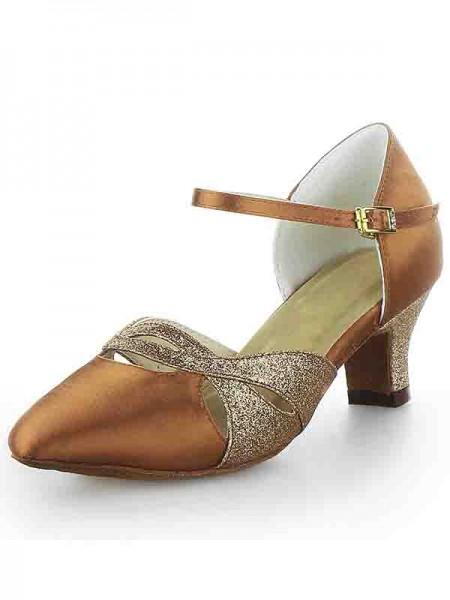 Kvinners Satin Lukket Toe Chunky Heel Buckle Sparkling Glitter Dansesko