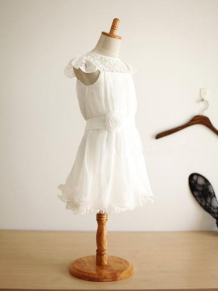 A-formet/Prinsesse Ermeløs Øse Chiffong Håndlaget Blomst Knelengde Kjoler Til Barn